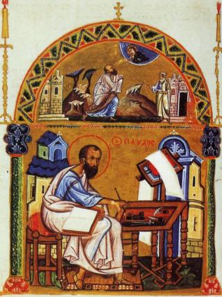 Sfântul Apostol Pavel, miniatură bizantină din 1150