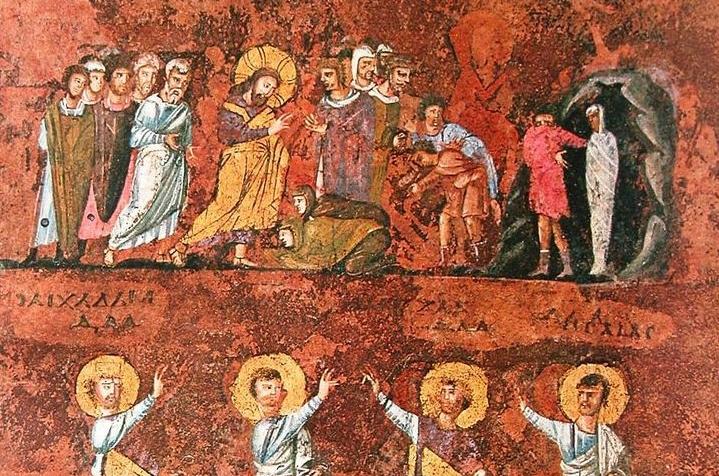 Învierea lui Lazăr, miniatură pe o pagină din Codex Purpureus