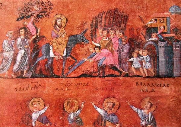 Intrarea Domnului în Ierusalim, miniatură din Codex Purpureus