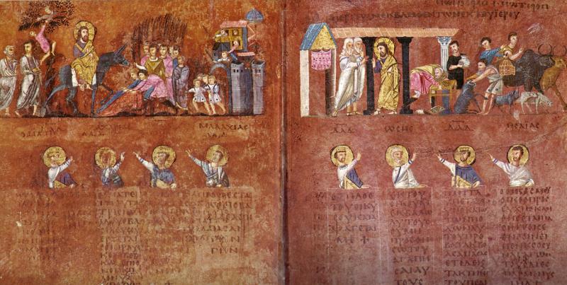 Pagini din Codex Purpureus, secolul VI, Catedrala din Rossano, Calabria